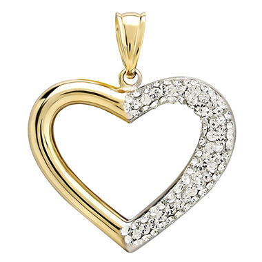 Love, Earth Genuine Swarovski Crystal Heart Pendant Set in Sterling Silver Bonded With 14K Yellow Gold