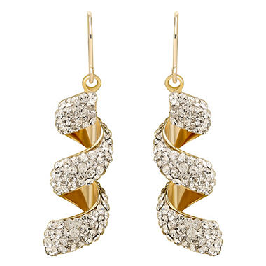 Love, Earth Genuine Swarovski Crystal Macaroni Twist Earrings, Set in Sterling Silver Bonded with 14K Gold