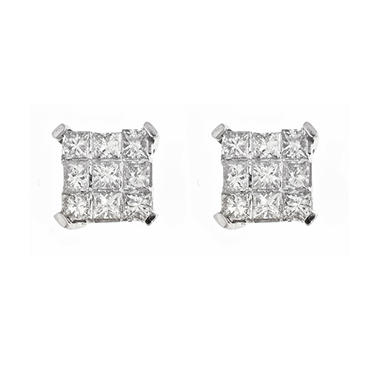 0.37 ct. t.w. Princess Diamond Earrings in 14K White Gold (H-I, I1)