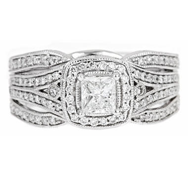 Regal 1.0 ct. t.w. Princess Center Diamond 14K White Gold Ring (I, SI2)