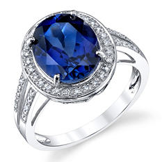 Lab Created Sapphire Ring 14K White Gold