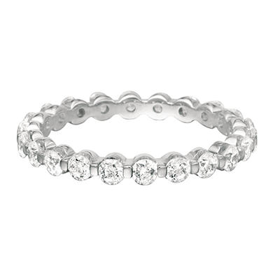 Prong-Set Diamond Eternity Band in 14K White Gold (I, VS2) - 3mm