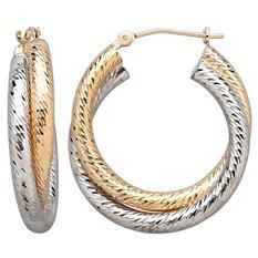 Diamond Cut Crossover Hoop Earrings in 14K Two Tone Gold (IGI Appraisal Value: $315)