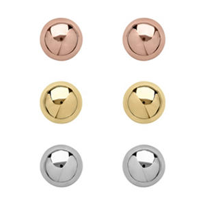 8mm Ball Earring Set in 14K Tri Color Gold