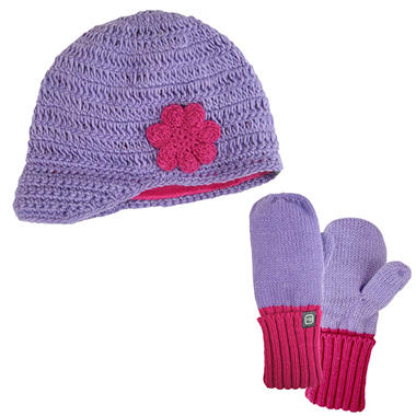 Girls Free Country® Flower Hat/Mitten Knit Set