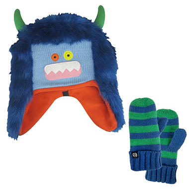 Boys Free Country® Monster Hat/Mitten Knit Set