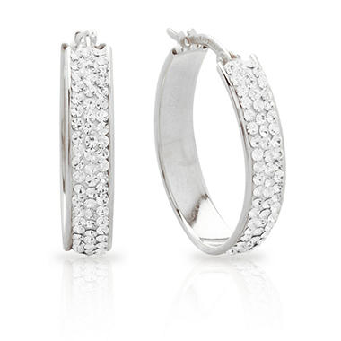 Love, Earth Genuine Swarovski Crystal Accented Oval Hoop Earrings in Sterling Silver and 14k White Gold