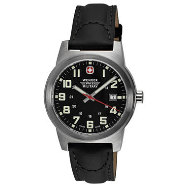 Wenger Swiss Military Classic Field Watch with Black Dial and Black Strap