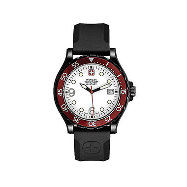 Wenger Swiss Military Ranger Watch with White Dial and Red Bezel