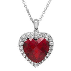10.52 ct. t.w. Lab Created Ruby and White Sapphire Heart Pendant in Sterling Silver