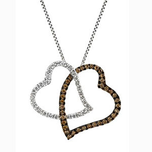 0.20 CT. TW. Champagne Diamond Heart Pendant in 14K White Gold (IGI Appraisal Value: $210)