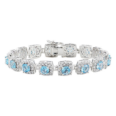 Genuine Blue Topaz and Lab-Created White Sapphire Bracelet in Sterling Silver (IGI Appraisal Value: $225)