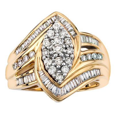 0.98 CT. TW. Marquise Shape Diamond RIng in 14K Yellow Gold (IGI Appraisal Value: $1,470)