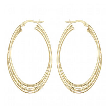 1.5mm Three Row Overlapping Oval Hoop Earring in 14K Yellow Gold