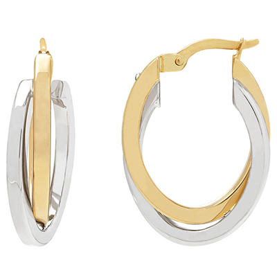 14K White and Yellow Gold Overlapping Hoop Earrings