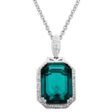 Swarovski Green Crystal Pendant in Sterling Silver