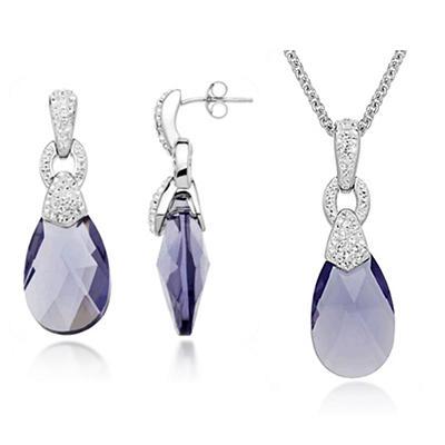 Swarovski Purple Briolette & White Crystal Pendant and Earring Box Set in Sterling Silver