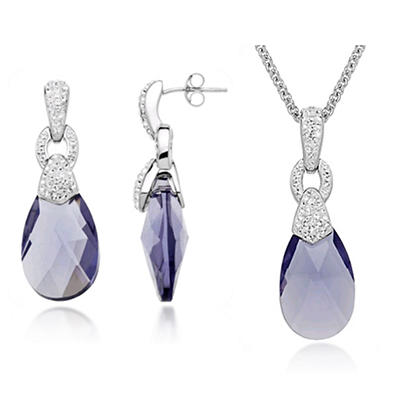 Swarovski Purple Briolette & White Crystal Pendant and Earring Box Set in Sterling Silver