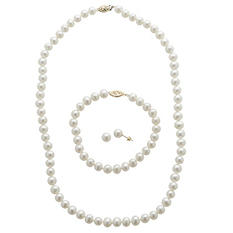 6-6.5mm Freshwater Pearl 3-Piece Set - 14K Yellow Gold