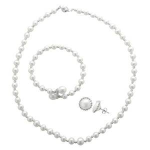 Freshwater Pearl and Brilliance Bead 3-Piece Set in Sterling Silver (IGI Appraisal Value: $205)
