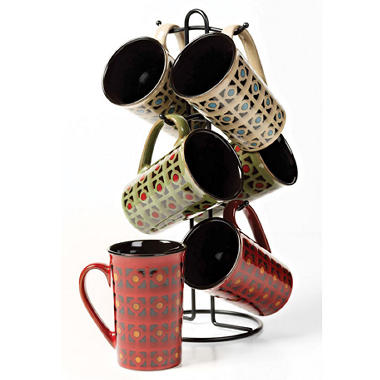 7 pc. Ceramic Mug Tree - Reactive Glaze Midtown Dot