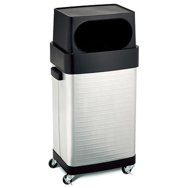 Seville Classics Ultra Heavy-Duty Rolling Trash Can - Stainless Steel - 17 gal.