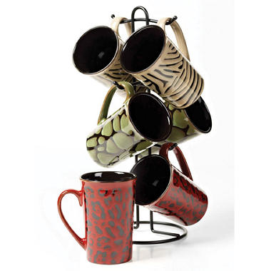 7 pc. Ceramic Mug Tree - Reactive Glaze Animal Print