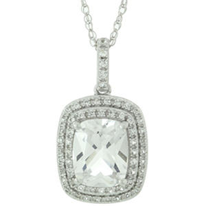 3.25 CT. T.W. Created White Sapphire Pendant in 14K White Gold
