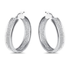 Inside Out Glitter Hoop Earring in Sterling Silver (IGI Appraisal Value: $115)