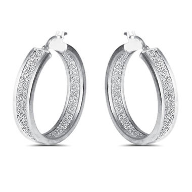 Inside Out Glitter Hoop Earring in Sterling Silver (IGI Appraisal Value: $115)