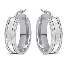 Italian Fancy Glitter Hoop Earrings In Sterling Silver (IGI Appraisal Value: $100)