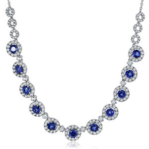 "Lab Created Blue and White Sapphire Necklace in Sterling Silver - 18"" (IGI Appraisal Value: $260)"