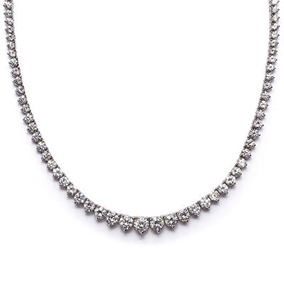 7 CT. T.W. Round-cut Diamond Necklace in 18K White Gold H-I, SI2 (IGI Appraisal Value: $9,225.00)