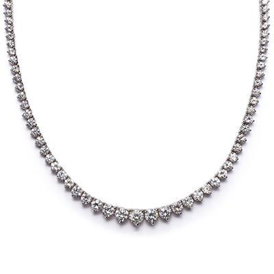 7 CT. T.W. Round-cut Diamond Necklace in 18K White Gold H-I, SI2 (IGI Appraisal Value: $9,225.00)