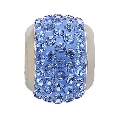Genuine Montana Blue Swarovski Crystal Charm Bead in Sterling Silver