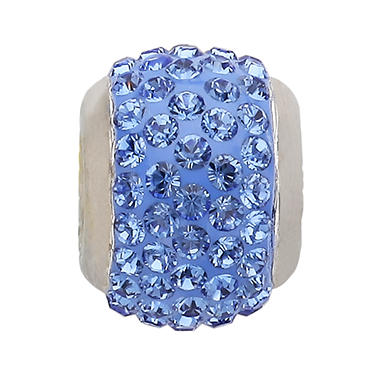 Genuine Montana Blue Swarovski Crystal Charm Bead in Sterling Silver