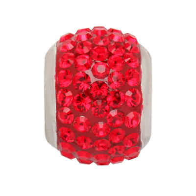 Genuine Red Swarovski Crystal Charm Bead in Sterling Silver