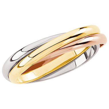 14K Tri-Color Gold Three Band Rolling Ring