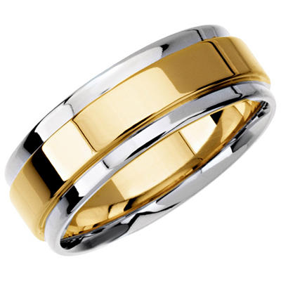 14K Two-Tone Gold Step-Edge Flat Band - 7.5mm