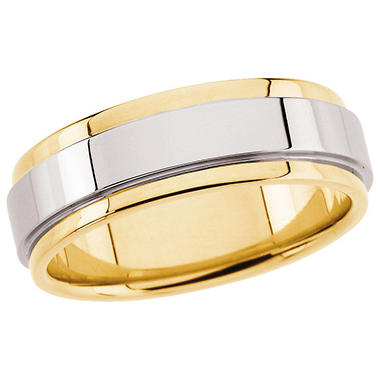 14K Two-Tone Gold Grooved Edge Flat Band - 7.5mm