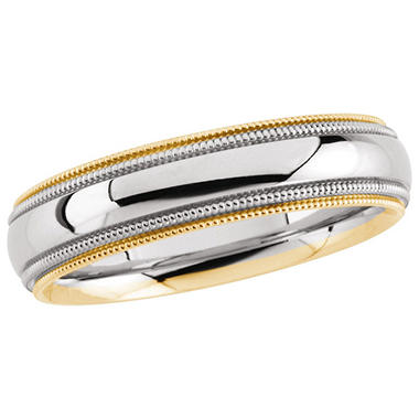 14K Two-Tone Gold 5.5mm Comfort Fit Milgrain Band