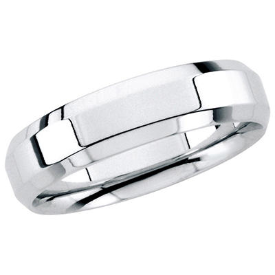 14K White Gold Beveled Edge Band - 6mm