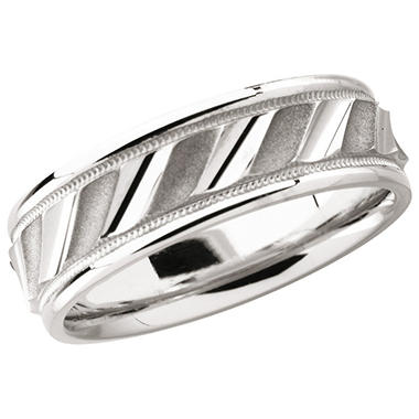 14K White Gold Comfort-Fit Design Band - 6.75mm