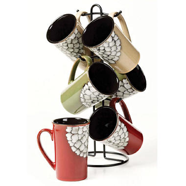 7 pc. Ceramic Mug Tree - Reactive Glaze Zinnia Design