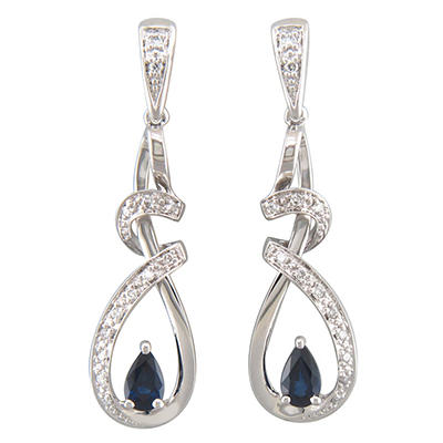 Genuine Sapphire and Diamond Earrings in 14K White Gold