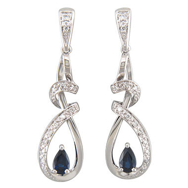 Genuine Sapphire and Diamond Earrings Set in 14kt White Gold