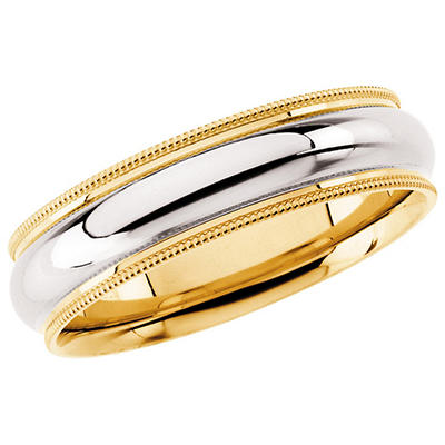 14K Two-Tone Gold 6mm Comfort Fit Milgrain Band