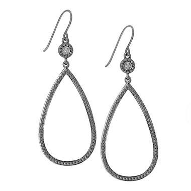 0.04 CT. T.W. Diamond Accent Large Beaded Tear Drop Earrings in Sterling Silver
