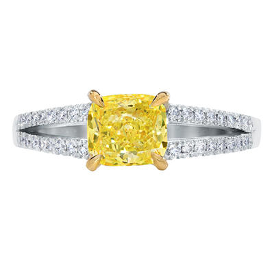 1.31 CT. T.W. Cushion-cut Fancy Yellow Split Shank Melee Diamond Ring in 18K White Gold (FY, VS1)