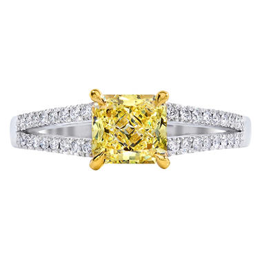 1.81 CT. T.W. Radiant-cut Fancy Yellow Melee  Split Shank Diamond Ring in Platinum (FY, VS2)